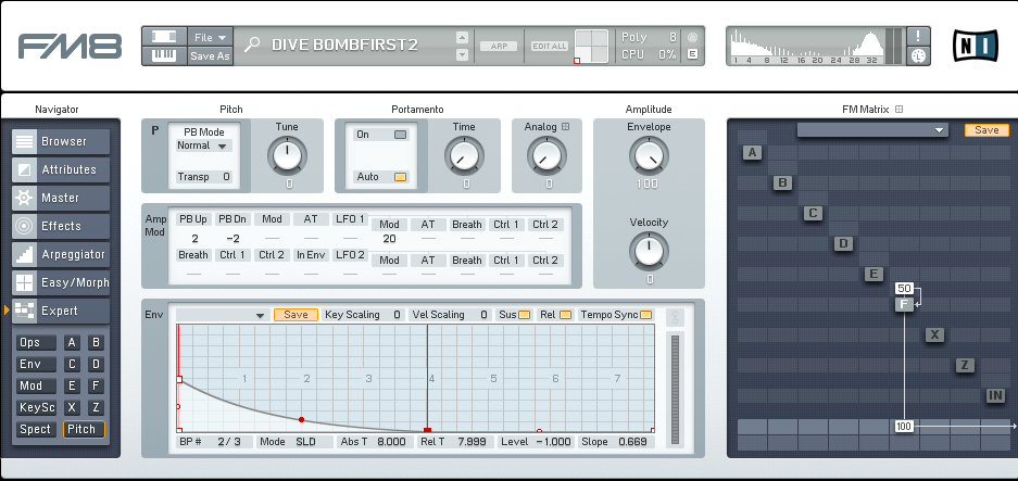 CREATING BASS DIVE EFFECT IN FM8 - ADSR