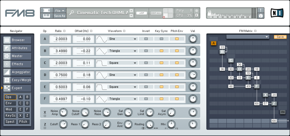 Creating a Driving Cinematic Tech Synth in FM8 Tutorial by OhmLab 1